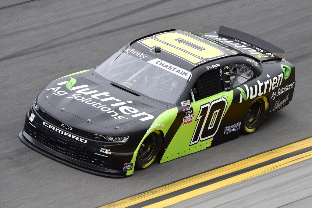 DAYTONA BEACH, FLORIDA - FEBRUARY 14: Ross Chastain, driver of the #10 Nutrien Ag Solutions Chevrolet, practices for the NASCAR Xfinity Series NASCAR Racing Experience 300 at Daytona International Speedway on February 14, 2020 in Daytona Beach, Florida. (Photo by Jared C. Tilton/Getty Images) | Getty Images