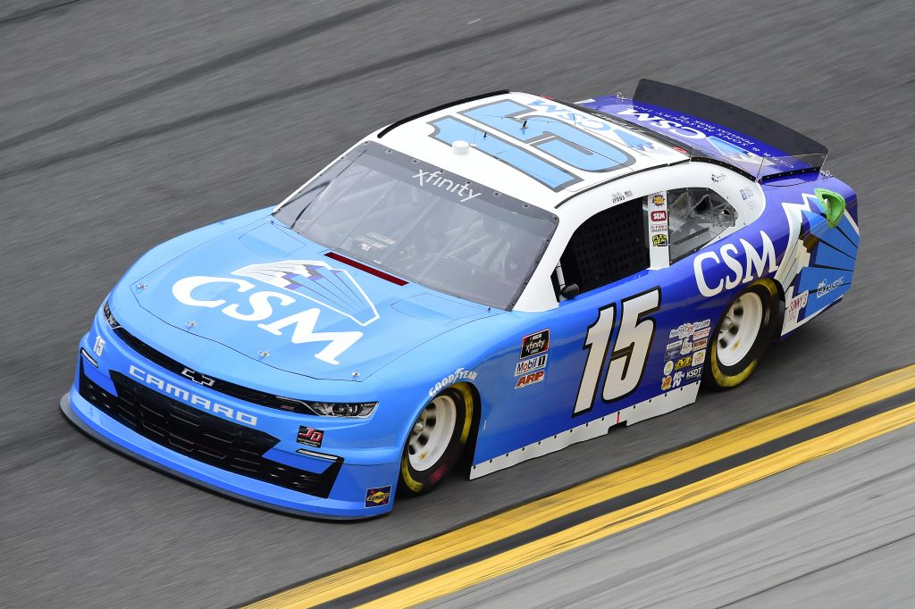 DAYTONA BEACH, FLORIDA - FEBRUARY 14: Robby Lyons II, driver of the #15 CSM/Carr & Sons Masonry Chevrolet, practices for the NASCAR Xfinity Series NASCAR Racing Experience 300 at Daytona International Speedway on February 14, 2020 in Daytona Beach, Florida. (Photo by Jared C. Tilton/Getty Images) | Getty Images