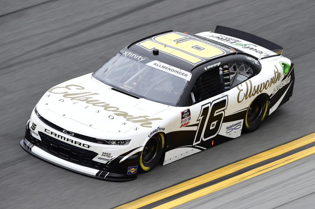 DAYTONA BEACH, FLORIDA - FEBRUARY 14: AJ Allmendinger, driver of the #16 Ellsworth Advisors Chevrolet, practices for the NASCAR Xfinity Series NASCAR Racing Experience 300 at Daytona International Speedway on February 14, 2020 in Daytona Beach, Florida. (Photo by Jared C. Tilton/Getty Images) | Getty Images