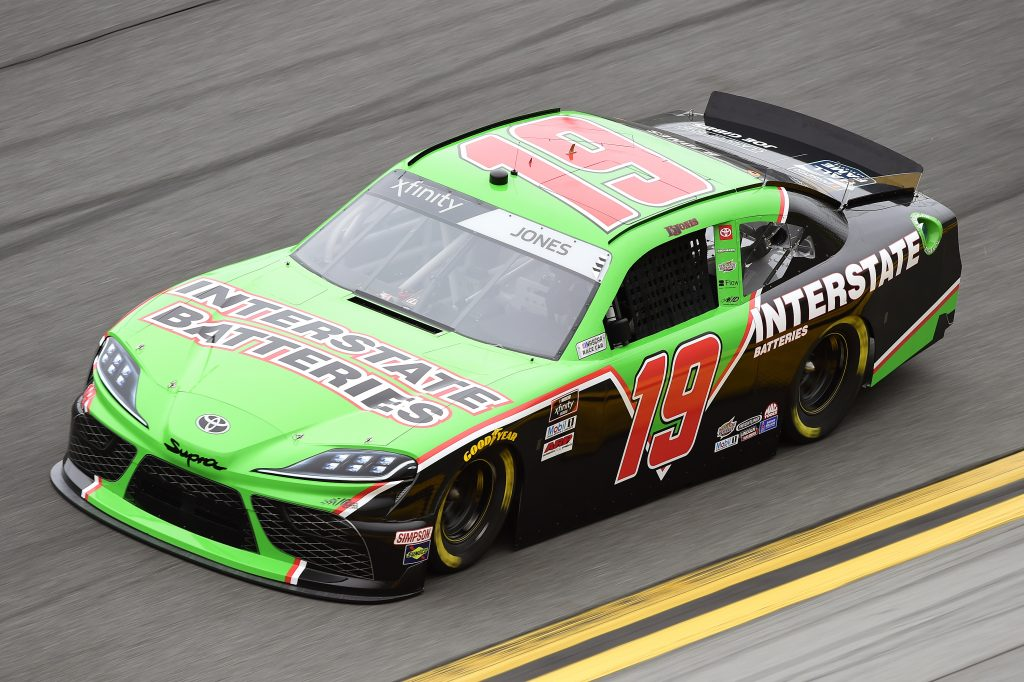 DAYTONA BEACH, FLORIDA - FEBRUARY 14: Brandon Jones, driver of the #19 Interstate Batteries Toyota, practices for the NASCAR Xfinity Series NASCAR Racing Experience 300 at Daytona International Speedway on February 14, 2020 in Daytona Beach, Florida. (Photo by Jared C. Tilton/Getty Images) | Getty Images