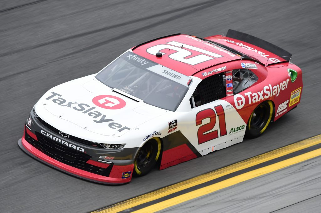 DAYTONA BEACH, FLORIDA - FEBRUARY 14: Myatt Snider, driver of the #21 TaxSlayer Chevrolet, practices for the NASCAR Xfinity Series NASCAR Racing Experience 300 at Daytona International Speedway on February 14, 2020 in Daytona Beach, Florida. (Photo by Jared C. Tilton/Getty Images) | Getty Images