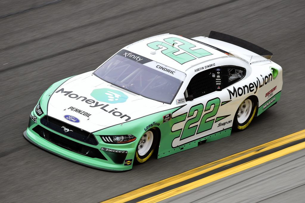 DAYTONA BEACH, FLORIDA - FEBRUARY 14: Austin Cindric, driver of the #22 MoneyLion Ford, practices for the NASCAR Xfinity Series NASCAR Racing Experience 300 at Daytona International Speedway on February 14, 2020 in Daytona Beach, Florida. (Photo by Jared C. Tilton/Getty Images) | Getty Images