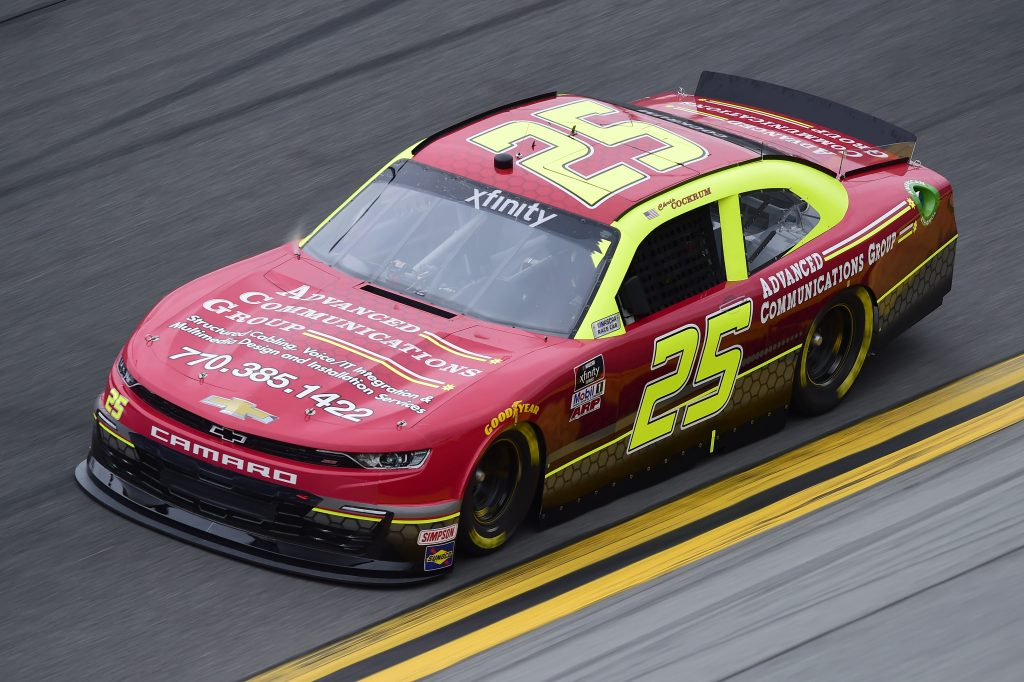 DAYTONA BEACH, FLORIDA - FEBRUARY 14: Chris Cockrum, driver of the #25 Advanced Communications Group Chevrolet, practices for the NASCAR Xfinity Series NASCAR Racing Experience 300 at Daytona International Speedway on February 14, 2020 in Daytona Beach, Florida. (Photo by Jared C. Tilton/Getty Images) | Getty Images