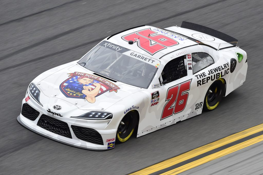 DAYTONA BEACH, FLORIDA - FEBRUARY 14: Colin Garrett, driver of the #26 The Rosie Network Toyota, practices for the NASCAR Xfinity Series NASCAR Racing Experience 300 at Daytona International Speedway on February 14, 2020 in Daytona Beach, Florida. (Photo by Jared C. Tilton/Getty Images) | Getty Images