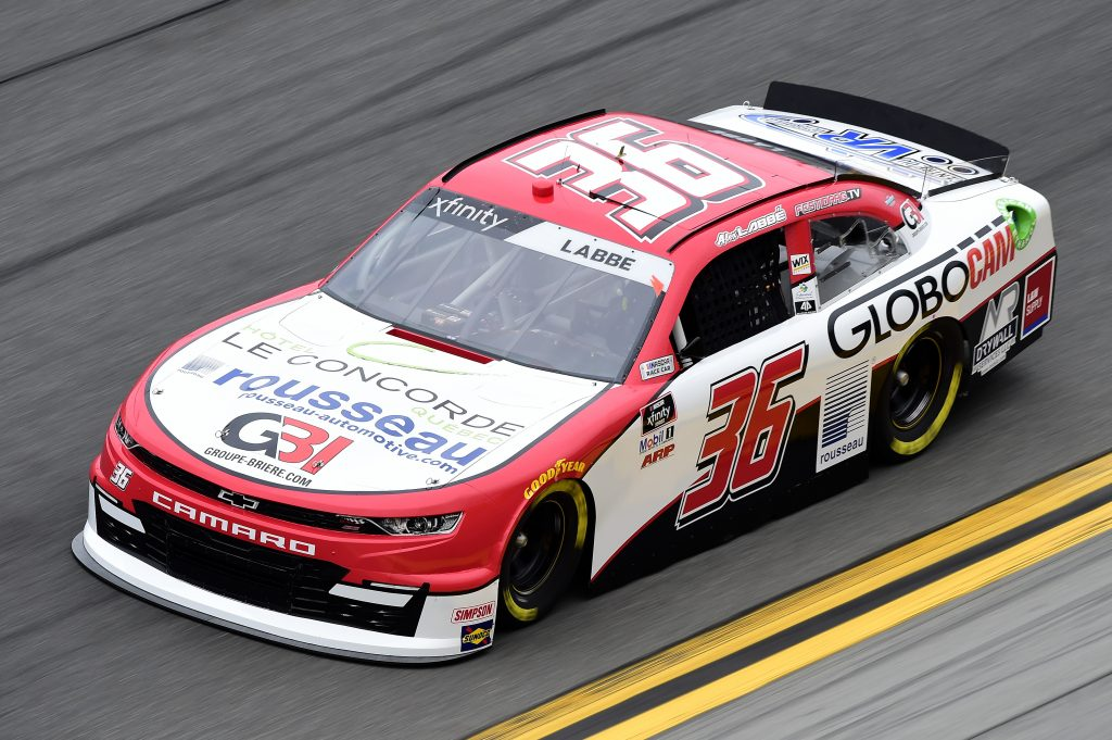 DAYTONA BEACH, FLORIDA - FEBRUARY 14: Alex Labbe, driver of the #36 Globocam/Rousseau Chevrolet, practices for the NASCAR Xfinity Series NASCAR Racing Experience 300 at Daytona International Speedway on February 14, 2020 in Daytona Beach, Florida. (Photo by Jared C. Tilton/Getty Images) | Getty Images