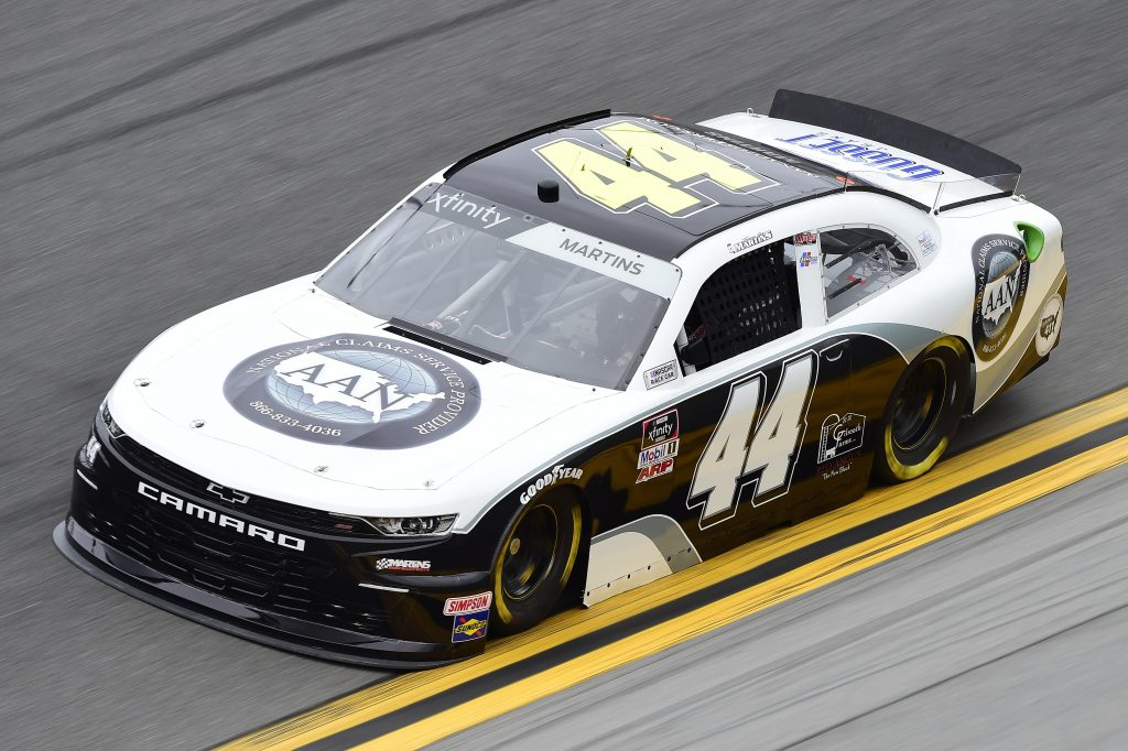 DAYTONA BEACH, FLORIDA - FEBRUARY 14: Tommy Joe Martins, driver of the #44 AAN Adjusters Chevrolet, practices for the NASCAR Xfinity Series NASCAR Racing Experience 300 at Daytona International Speedway on February 14, 2020 in Daytona Beach, Florida. (Photo by Jared C. Tilton/Getty Images) | Getty Images