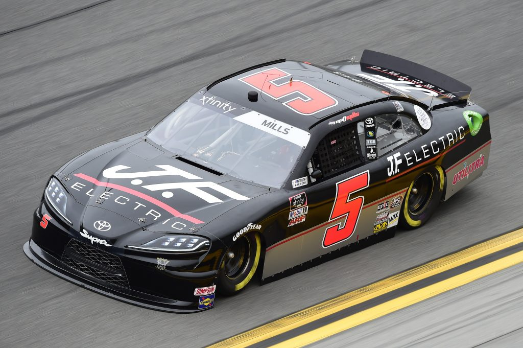 DAYTONA BEACH, FLORIDA - FEBRUARY 14: Matt Mills, driver of the #5 J F Electric Toyota, practices for the NASCAR Xfinity Series NASCAR Racing Experience 300 at Daytona International Speedway on February 14, 2020 in Daytona Beach, Florida. (Photo by Jared C. Tilton/Getty Images) | Getty Images