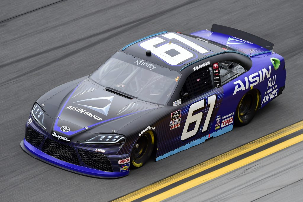 DAYTONA BEACH, FLORIDA - FEBRUARY 14: Austin Hill, driver of the #61 AISIN Group Toyota, practices for the NASCAR Xfinity Series NASCAR Racing Experience 300 at Daytona International Speedway on February 14, 2020 in Daytona Beach, Florida. (Photo by Jared C. Tilton/Getty Images) | Getty Images