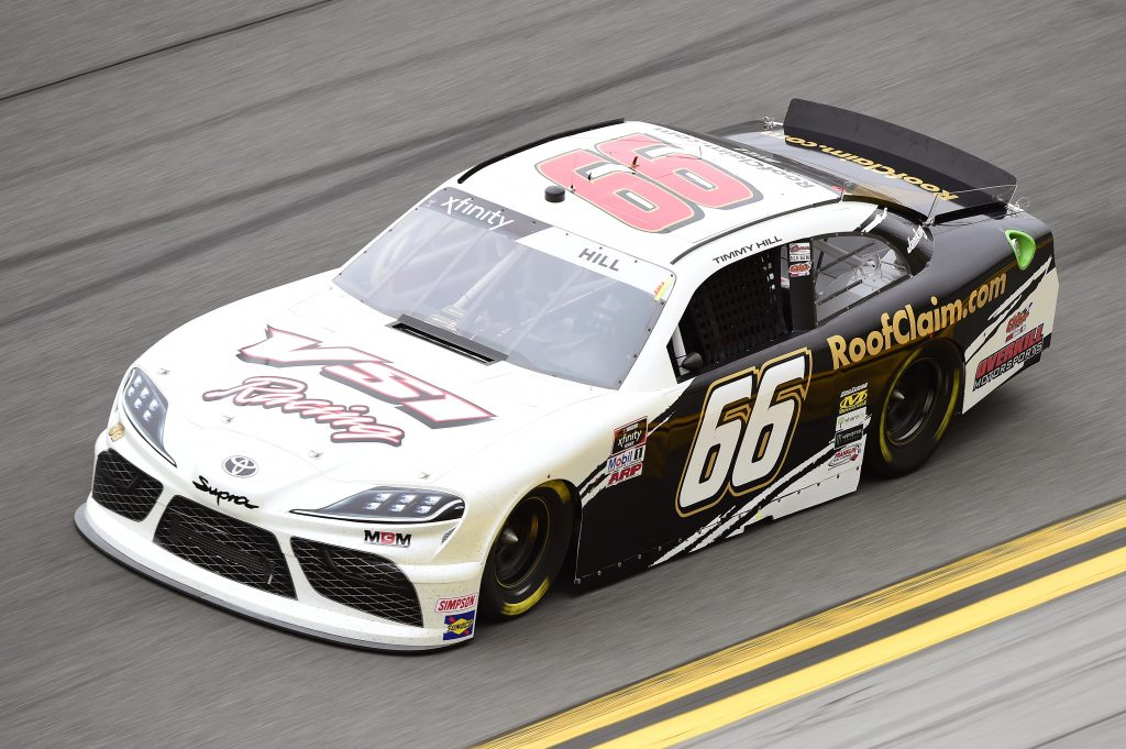 DAYTONA BEACH, FLORIDA - FEBRUARY 14: Timmy Hill, driver of the #66 VSI Racing/RoofClaim.com Ford, practices for the NASCAR Xfinity Series NASCAR Racing Experience 300 at Daytona International Speedway on February 14, 2020 in Daytona Beach, Florida. (Photo by Jared C. Tilton/Getty Images) | Getty Images