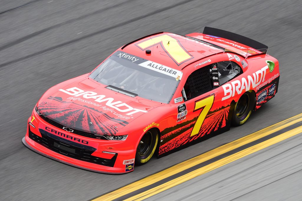 DAYTONA BEACH, FLORIDA - FEBRUARY 14: Justin Allgaier, driver of the #7 BRANDT Chevrolet, practices for the NASCAR Xfinity Series NASCAR Racing Experience 300 at Daytona International Speedway on February 14, 2020 in Daytona Beach, Florida. (Photo by Jared C. Tilton/Getty Images) | Getty Images