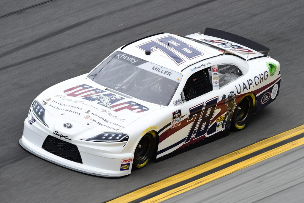 DAYTONA BEACH, FLORIDA - FEBRUARY 14: Vinnie Miller, driver of the #78 UAP.ORG Toyota, practices for the NASCAR Xfinity Series NASCAR Racing Experience 300 at Daytona International Speedway on February 14, 2020 in Daytona Beach, Florida. (Photo by Jared C. Tilton/Getty Images) | Getty Images
