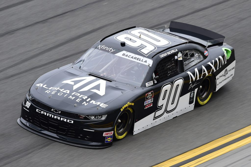 DAYTONA BEACH, FLORIDA - FEBRUARY 14: Caesar Bacarella, driver of the #90 Maxim/Alpha Prime Regimen Chevrolet, practices for the NASCAR Xfinity Series NASCAR Racing Experience 300 at Daytona International Speedway on February 14, 2020 in Daytona Beach, Florida. (Photo by Jared C. Tilton/Getty Images) | Getty Images