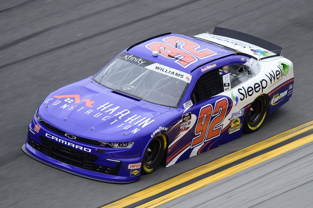 DAYTONA BEACH, FLORIDA - FEBRUARY 14: Josh Williams, driver of the #92 Sleep Well/Harkin Construction Chevrolet, practices for the NASCAR Xfinity Series NASCAR Racing Experience 300 at Daytona International Speedway on February 14, 2020 in Daytona Beach, Florida. (Photo by Jared C. Tilton/Getty Images) | Getty Images