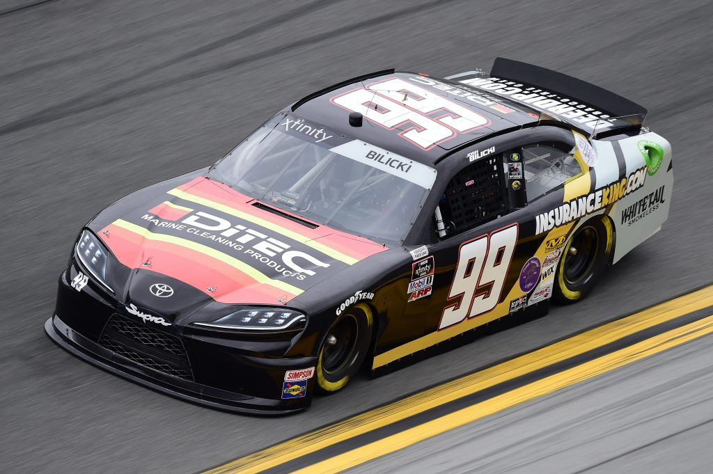 DAYTONA BEACH, FLORIDA - FEBRUARY 14: Josh Bilicki, driver of the #99 DITEC Marine/Insurance King Toyota, practices for the NASCAR Xfinity Series NASCAR Racing Experience 300 at Daytona International Speedway on February 14, 2020 in Daytona Beach, Florida. (Photo by Jared C. Tilton/Getty Images) | Getty Images