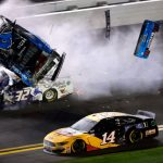 DAYTONA BEACH, FLORIDA - FEBRUARY 17: Ryan Newman, driver of the #6 Koch Industries Ford, and Corey LaJoie, driver of the #32 RagingBull.com Ford, crash during the last lap of the  NASCAR Cup Series 62nd Annual Daytona 500 at Daytona International Speedway on February 17, 2020 in Daytona Beach, Florida. (Photo by Jared C. Tilton/Getty Images) | Getty Images