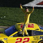 LAS VEGAS, NEVADA - FEBRUARY 23: Joey Logano, driver of the #22 Pennzoil Ford, celebrates his win during the NASCAR Cup Series Pennzoil 400 at Las Vegas Motor Speedway on February 23, 2020 in Las Vegas, Nevada. (Photo by Jonathan Ferrey/Getty Images) | Getty Images