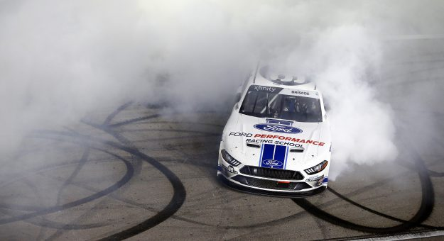 LAS VEGAS, NEVADA - FEBRUARY 22: Chase Briscoe, driver of the #98 Ford Performance Racing School Ford, celebrates his victory during the NASCAR Xfinity Series Boyd Gaming 300 at Las Vegas Motor Speedway on February 23, 2020 in Las Vegas, Nevada. (Photo by Jonathan Ferrey/Getty Images) | Getty Images