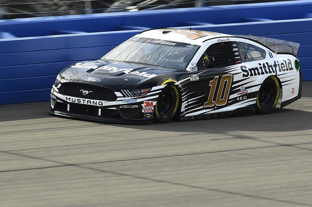 FONTANA, CALIFORNIA - FEBRUARY 28: Aric Almirola, driver of the #10 Smithfield Ford, practices for the NASCAR Cup Series Auto Club 400 at Auto Club Speedway on February 28, 2020 in Fontana, California. (Photo by Stacy Revere/Getty Images) | Getty Images