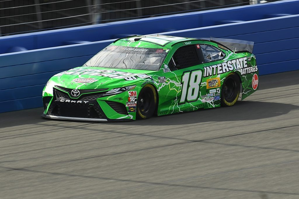 FONTANA, CALIFORNIA - FEBRUARY 28: Kyle Busch, driver of the #18 Interstate Batteries Toyota, practices for the NASCAR Cup Series Auto Club 400 at Auto Club Speedway on February 28, 2020 in Fontana, California. (Photo by Stacy Revere/Getty Images) | Getty Images