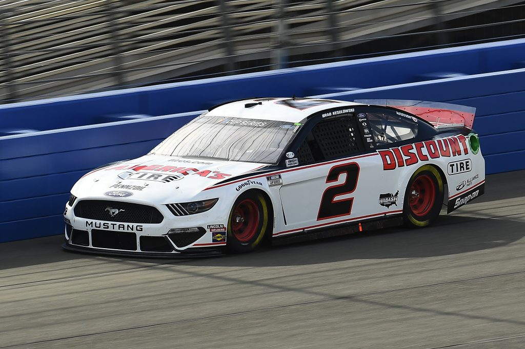 FONTANA, CALIFORNIA - FEBRUARY 28: Brad Keselowski, driver of the #2 Discount Tire/Americas Tire Ford, practices for the NASCAR Cup Series Auto Club 400 at Auto Club Speedway on February 28, 2020 in Fontana, California. (Photo by Stacy Revere/Getty Images) | Getty Images