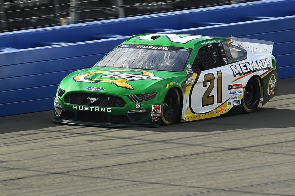 FONTANA, CALIFORNIA - FEBRUARY 28: Matt DiBenedetto, driver of the #21 Menards/Quaker State Ford, practices for the NASCAR Cup Series Auto Club 400 at Auto Club Speedway on February 28, 2020 in Fontana, California. (Photo by Stacy Revere/Getty Images) | Getty Images