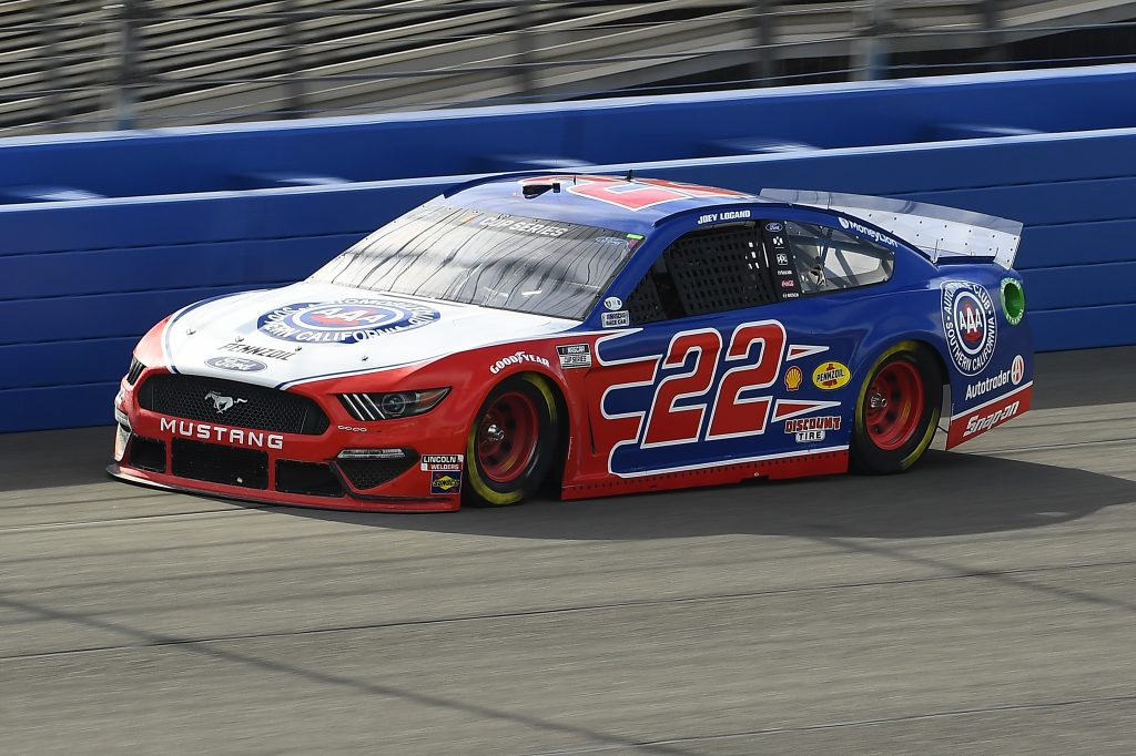 FONTANA, CALIFORNIA - FEBRUARY 28: Joey Logano, driver of the #22 AAA Southern California Ford, practices for the NASCAR Cup Series Auto Club 400 at Auto Club Speedway on February 28, 2020 in Fontana, California. (Photo by Stacy Revere/Getty Images) | Getty Images