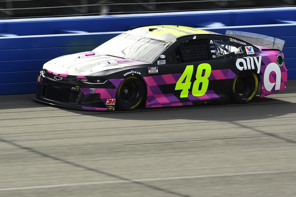 FONTANA, CALIFORNIA - FEBRUARY 28: Jimmie Johnson, driver of the #48 Ally Chevrolet, practices for the NASCAR Cup Series Auto Club 400 at Auto Club Speedway on February 28, 2020 in Fontana, California. (Photo by Stacy Revere/Getty Images) | Getty Images