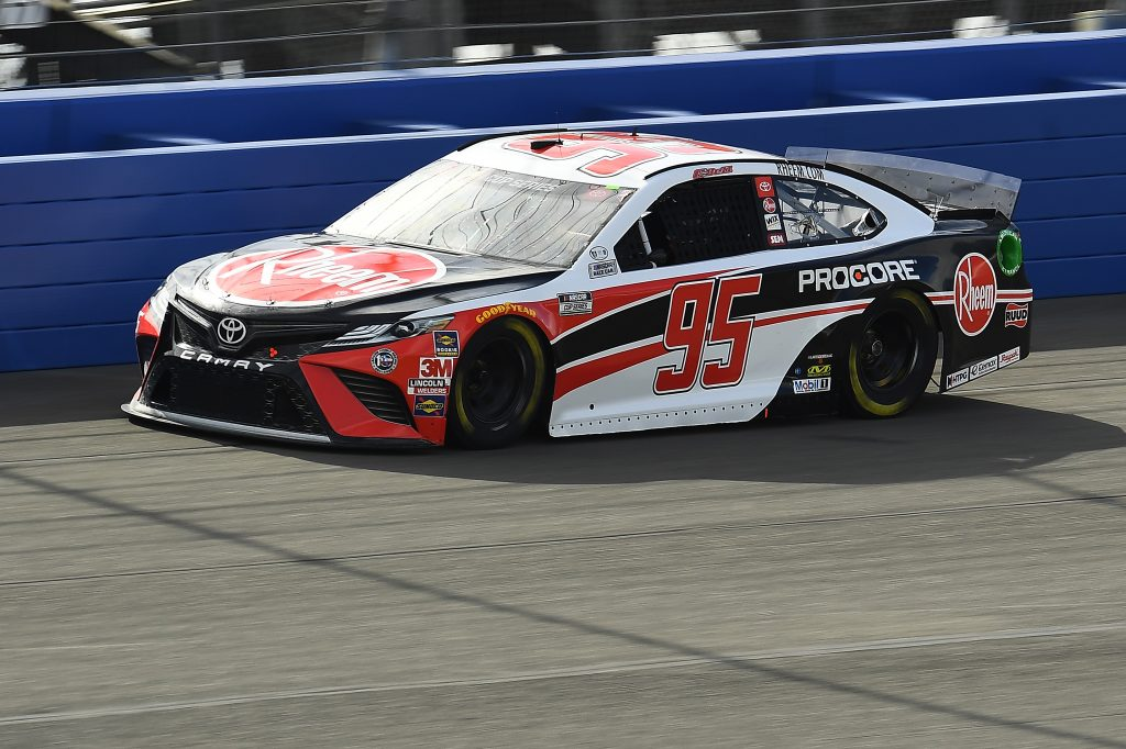 FONTANA, CALIFORNIA - FEBRUARY 28: Christopher Bell, driver of the #95 Rheem Toyota, practices for the NASCAR Cup Series Auto Club 400 at Auto Club Speedway on February 28, 2020 in Fontana, California. (Photo by Stacy Revere/Getty Images)   Getty Images