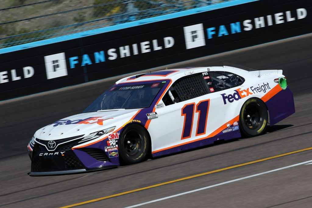 AVONDALE, ARIZONA - MARCH 06: Denny Hamlin, driver of the #11 FedEx Express Toyota, practices during practice for the NASCAR Cup Series FanShield 500 at Phoenix Raceway on March 06, 2020 in Avondale, Arizona. (Photo by Chris Graythen/Getty Images) | Getty Images