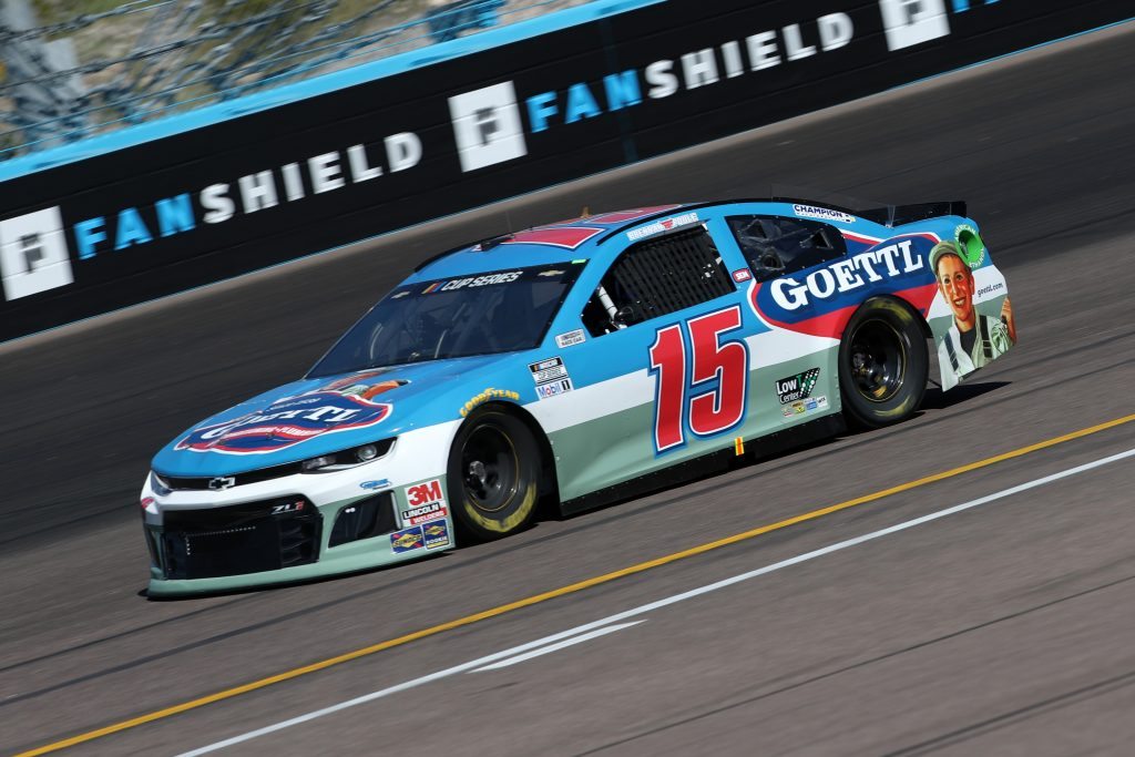 AVONDALE, ARIZONA - MARCH 06: Brennan Poole, driver of the #15 Goettl Chevrolet, practices during practice for the NASCAR Cup Series FanShield 500 at Phoenix Raceway on March 06, 2020 in Avondale, Arizona. (Photo by Chris Graythen/Getty Images) | Getty Images