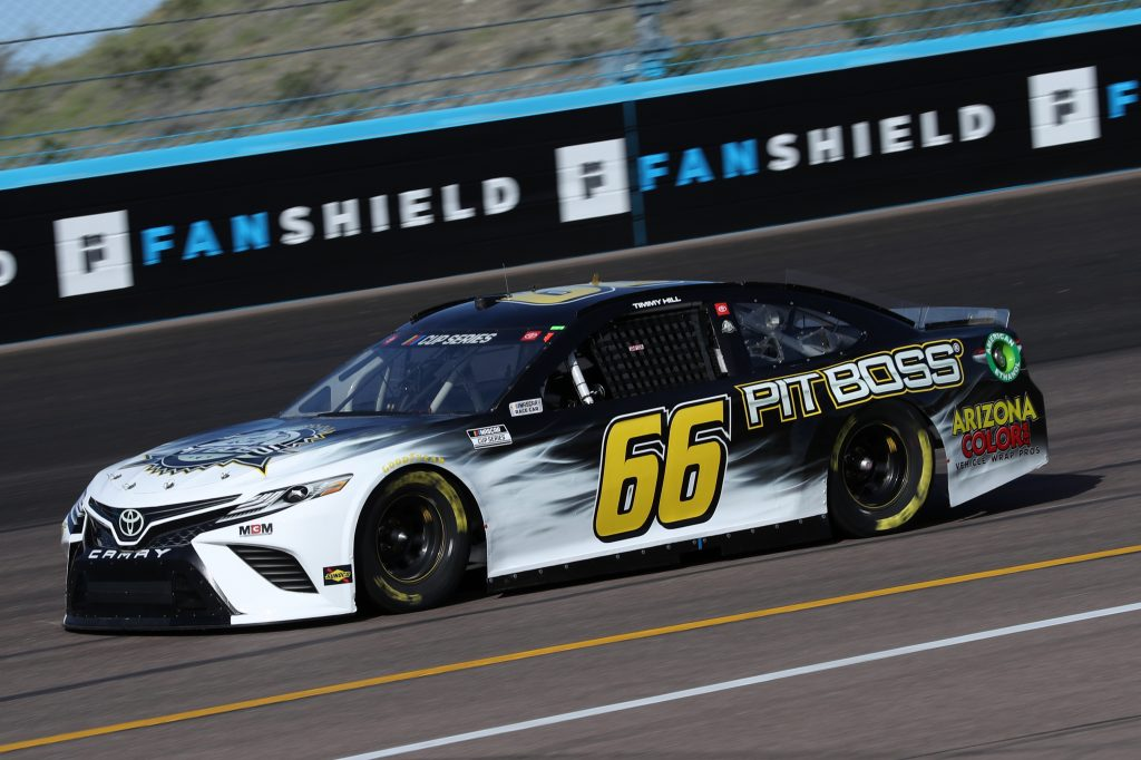 AVONDALE, ARIZONA - MARCH 06: Timmy Hill, driver of the #66 PIT BOSS GRILLS Toyota, practice during practice for the NASCAR Cup Series FanShield 500 at Phoenix Raceway on March 06, 2020 in Avondale, Arizona. (Photo by Chris Graythen/Getty Images) | Getty Images