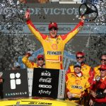AVONDALE, ARIZONA - MARCH 08: Joey Logano, driver of the #22 Shell Pennzoil Ford, celebrates in Victory Lane after winning the NASCAR Cup Series FanShield 500 at Phoenix Raceway on March 08, 2020 in Avondale, Arizona. (Photo by Christian Petersen/Getty Images) | Getty Images