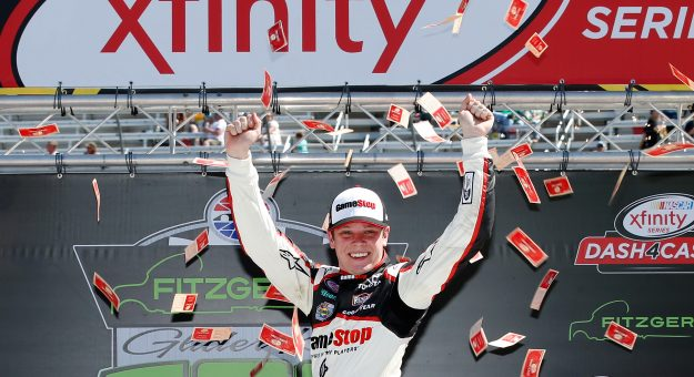 BRISTOL, TN - APRIL 16:  Erik Jones, driver of the #20 Gamestop/Performance Designed Products Toyota, celebrates in Victory Lane after winning the NASCAR XFINITY Series Fitzgerald Glider Kits 300 at Bristol Motor Speedway on April 16, 2016 in Bristol, Tennessee.  (Photo by Todd Warshaw/NASCAR via Getty Images)