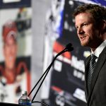 CHARLOTTE, NC - APRIL 25: Dale Earnhardt Jr. gives a statement announcing his retirement from NASCAR after the 2017 season at the Hendrick Motorsports Team Center on April 25, 2017 in Charlotte, North Carolina. (Photo by Mike Comer/Getty Images) | Getty Images