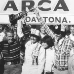 DAYTONA BEACH, FL - FEBRUARY 11, 1979:  Kyle Petty in victory lane with his wife after winning the ARCA race at Daytona, his first-ever win. To Kyle's right are his grandparents, and to his left, his parents.  (Photo by ISC Archives/CQ-Roll Call Group via Getty Images)