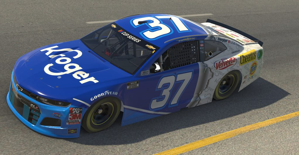 RICHMOND, VIRGINIA - APRIL 19: (EDITORIAL USE ONLY) (Editors note: This image was computer generated in-game) Ryan Preece, driver of the #37 Kroger Chevrolet, races during the eNASCAR iRacing Pro Invitational Series Toyota Owners 150at Richmond Raceway on April 19, 2020 in Richmond, Virginia. (Photo by Chris Graythen/Getty Images) | Getty Images