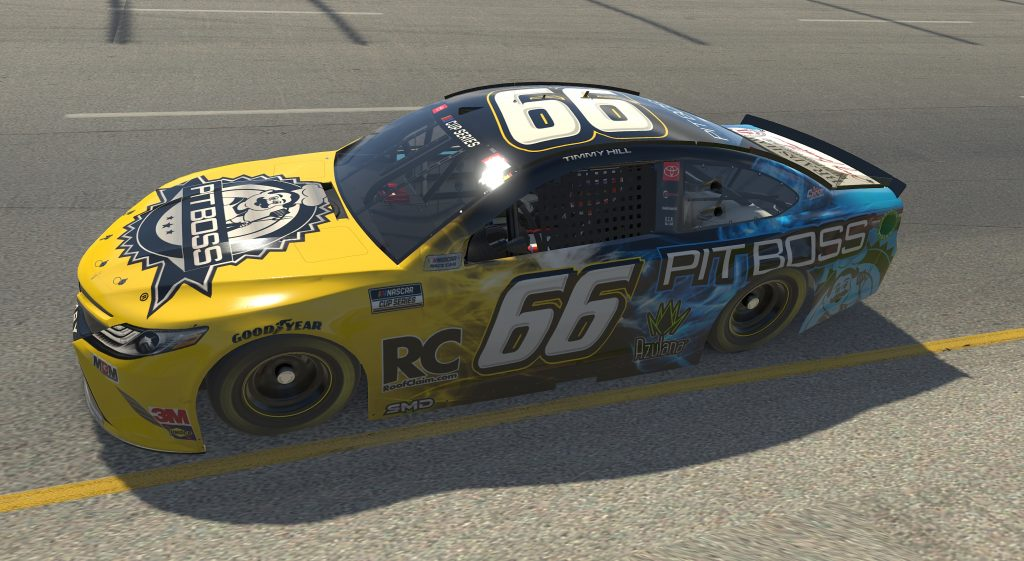 RICHMOND, VIRGINIA - APRIL 19: (EDITORIAL USE ONLY) (Editors note: This image was computer generated in-game) Timmy Hill, driver of the #66 Pit Boss Totota, races during the eNASCAR iRacing Pro Invitational Series Toyota Owners 150at Richmond Raceway on April 19, 2020 in Richmond, Virginia. (Photo by Chris Graythen/Getty Images) | Getty Images