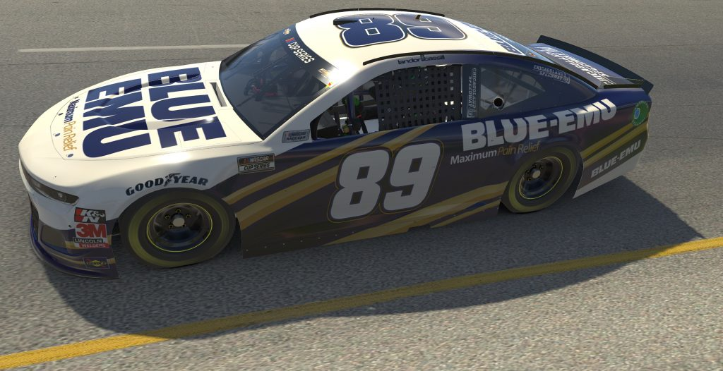 RICHMOND, VIRGINIA - APRIL 19: (EDITORIAL USE ONLY) (Editors note: This image was computer generated in-game) Landon Cassill, driver of the #89 Blue Emu Chevrolet, races during the eNASCAR iRacing Pro Invitational Series Toyota Owners 150at Richmond Raceway on April 19, 2020 in Richmond, Virginia. (Photo by Chris Graythen/Getty Images) | Getty Images