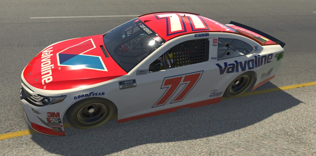 RICHMOND, VIRGINIA - APRIL 19: (EDITORIAL USE ONLY) (Editors note: This image was computer generated in-game) Parker Kligerman, driver of the #77 Valvoline/Food Country Toyota, races during the eNASCAR iRacing Pro Invitational Series Toyota Owners 150at Richmond Raceway on April 19, 2020 in Richmond, Virginia. (Photo by Chris Graythen/Getty Images) | Getty Images