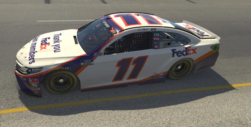 RICHMOND, VIRGINIA - APRIL 19: (EDITORIAL USE ONLY) (Editors note: This image was computer generated in-game) Denny Hamlin, driver of the #11 FedEx Toyota, races during the eNASCAR iRacing Pro Invitational Series Toyota Owners 150at Richmond Raceway on April 19, 2020 in Richmond, Virginia. (Photo by Chris Graythen/Getty Images) | Getty Images