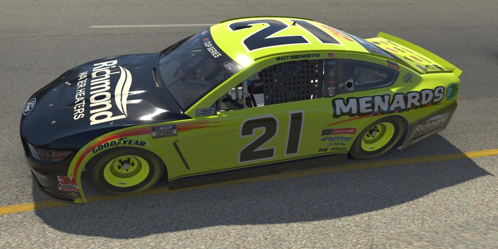 RICHMOND, VIRGINIA - APRIL 19: (EDITORIAL USE ONLY) (Editors note: This image was computer generated in-game) Matt DiBenedetto, driver of the #21 Menards/Richmond Ford, races during the eNASCAR iRacing Pro Invitational Series Toyota Owners 150at Richmond Raceway on April 19, 2020 in Richmond, Virginia. (Photo by Chris Graythen/Getty Images) | Getty Images