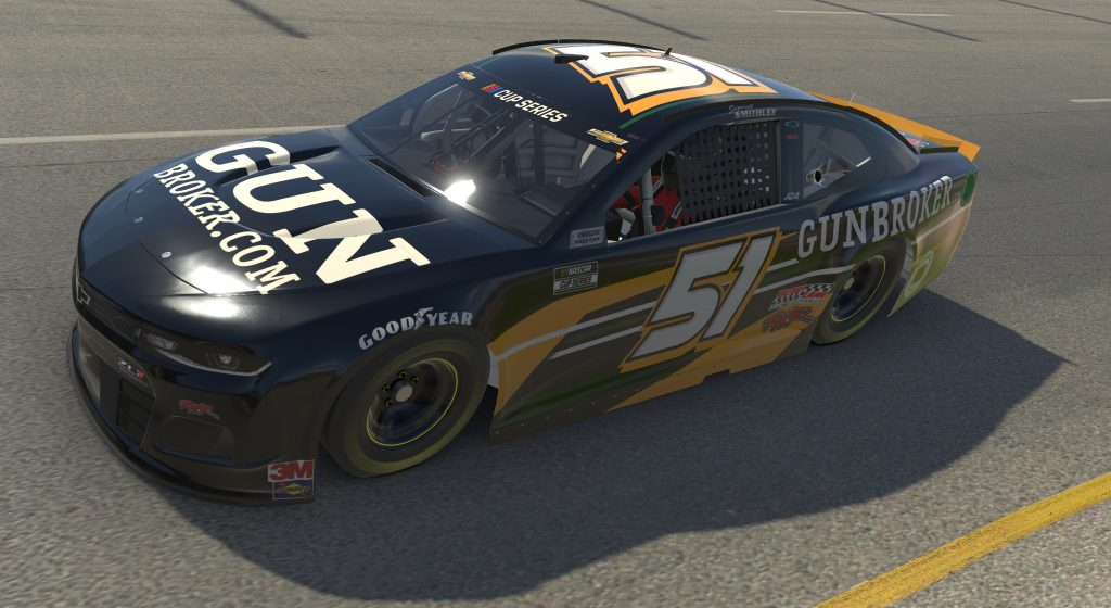 RICHMOND, VIRGINIA - APRIL 19: (EDITORIAL USE ONLY) (Editors note: This image was computer generated in-game) Garrett Smithley, driver of the #51 GunBroker.com Chevrolet, races during the eNASCAR iRacing Pro Invitational Series Toyota Owners 150at Richmond Raceway on April 19, 2020 in Richmond, Virginia. (Photo by Chris Graythen/Getty Images) | Getty Images