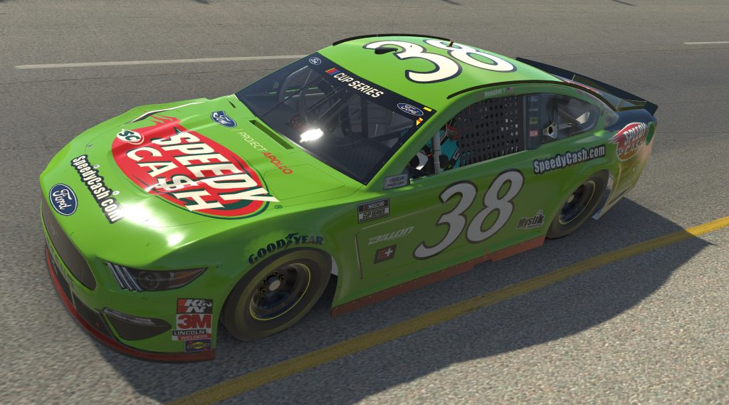 RICHMOND, VIRGINIA - APRIL 19: (EDITORIAL USE ONLY) (Editors note: This image was computer generated in-game) John Hunter Nemechek, driver of the #38 SpeedyCash.com Ford, races during the eNASCAR iRacing Pro Invitational Series Toyota Owners 150at Richmond Raceway on April 19, 2020 in Richmond, Virginia. (Photo by Chris Graythen/Getty Images) | Getty Images