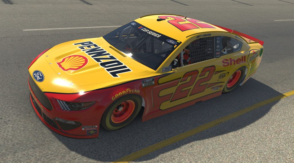 RICHMOND, VIRGINIA - APRIL 19: (EDITORIAL USE ONLY) (Editors note: This image was computer generated in-game) Joey Logano, driver of the #22 Shell/Pennzoil Ford,races during the eNASCAR iRacing Pro Invitational Series Toyota Owners 150at Richmond Raceway on April 19, 2020 in Richmond, Virginia. (Photo by Chris Graythen/Getty Images) | Getty Images