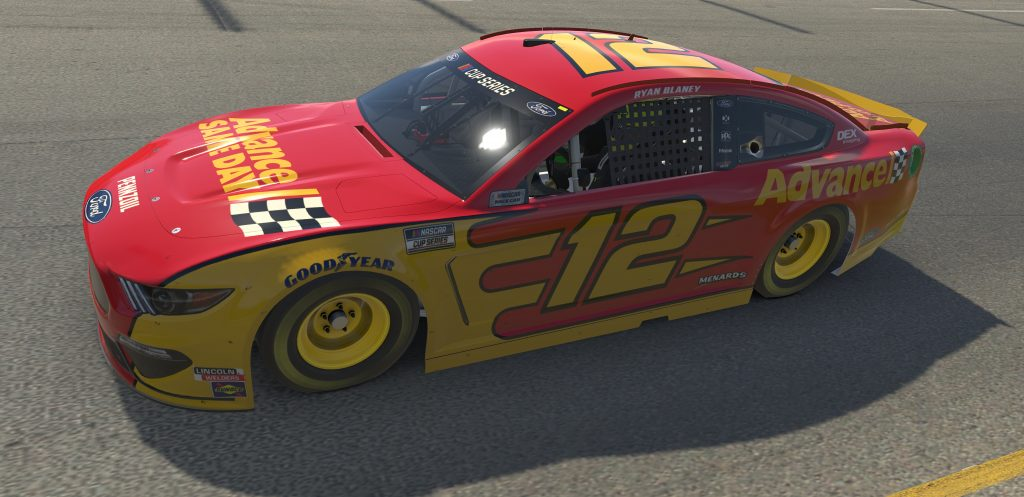 RICHMOND, VIRGINIA - APRIL 19: (EDITORIAL USE ONLY) (Editors note: This image was computer generated in-game) Ryan Blaney, driver of the #12 Advance Auto Parts Ford, races during the eNASCAR iRacing Pro Invitational Series Toyota Owners 150at Richmond Raceway on April 19, 2020 in Richmond, Virginia. (Photo by Chris Graythen/Getty Images) | Getty Images