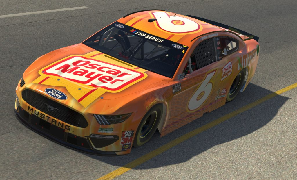 RICHMOND, VIRGINIA - APRIL 19: (EDITORIAL USE ONLY) (Editors note: This image was computer generated in-game) Ross Chastain, driver of the #6 Oscar Mayer Bacon/Nutrien Ford, races during the eNASCAR iRacing Pro Invitational Series Toyota Owners 150at Richmond Raceway on April 19, 2020 in Richmond, Virginia. (Photo by Chris Graythen/Getty Images) | Getty Images