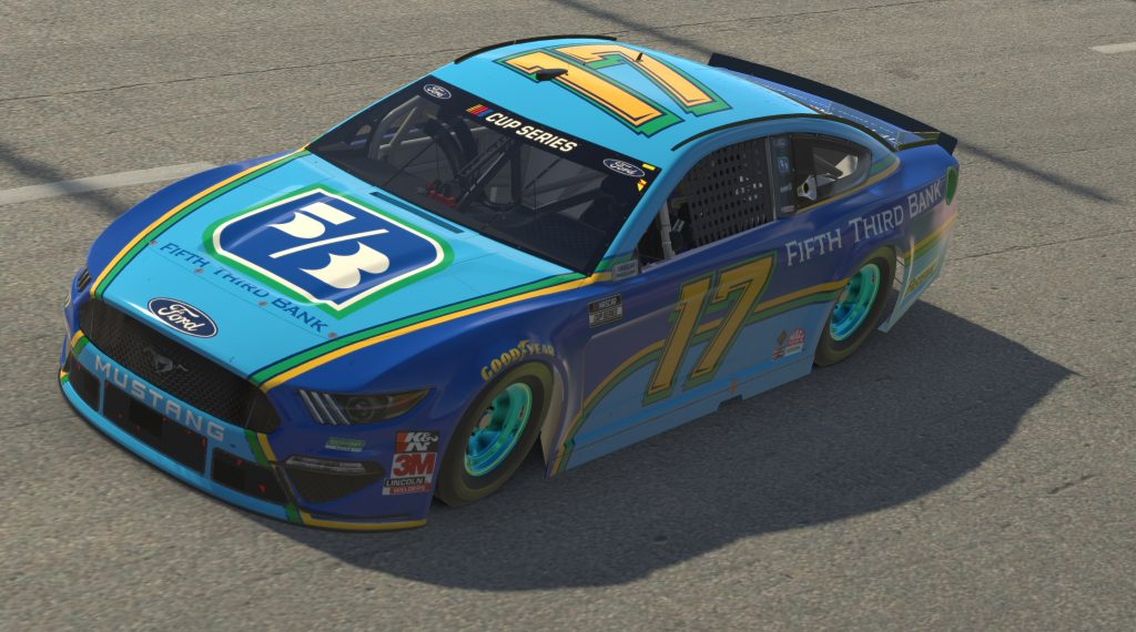 RICHMOND, VIRGINIA - APRIL 19: (EDITORIAL USE ONLY) (Editors note: This image was computer generated in-game) Chris Buescher, driver of the #17 Fifth Third Bank Ford, races during the eNASCAR iRacing Pro Invitational Series Toyota Owners 150at Richmond Raceway on April 19, 2020 in Richmond, Virginia. (Photo by Chris Graythen/Getty Images) | Getty Images