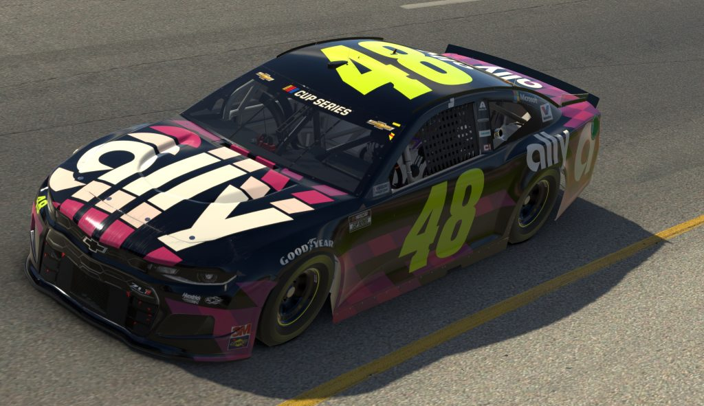 RICHMOND, VIRGINIA - APRIL 19: (EDITORIAL USE ONLY) (Editors note: This image was computer generated in-game) Jimmie Johnson, driver of the #48 Ally Chevrolet, races during the eNASCAR iRacing Pro Invitational Series Toyota Owners 150at Richmond Raceway on April 19, 2020 in Richmond, Virginia. (Photo by Chris Graythen/Getty Images) | Getty Images