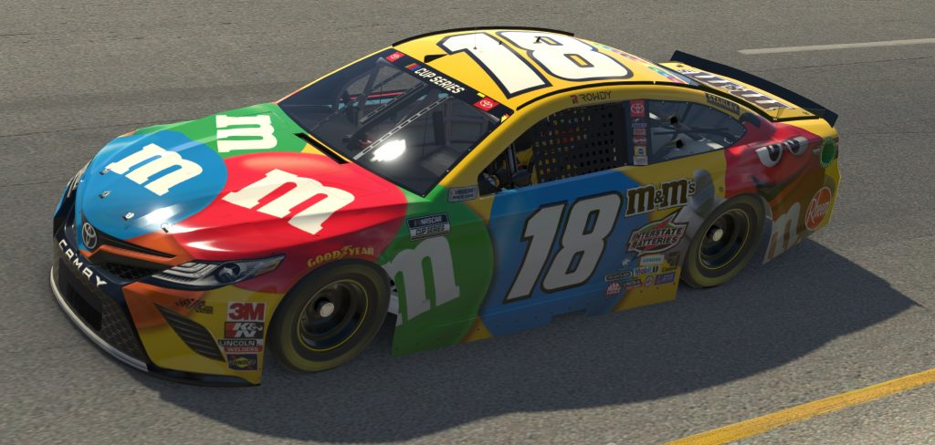 RICHMOND, VIRGINIA - APRIL 19: (EDITORIAL USE ONLY) (Editors note: This image was computer generated in-game) Kyle Busch, driver of the #18 M&M's Toyota, races during the eNASCAR iRacing Pro Invitational Series Toyota Owners 150at Richmond Raceway on April 19, 2020 in Richmond, Virginia. (Photo by Chris Graythen/Getty Images) | Getty Images