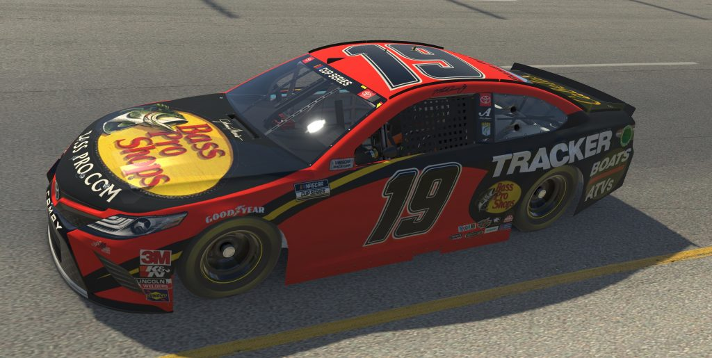 RICHMOND, VIRGINIA - APRIL 19: (EDITORIAL USE ONLY) (Editors note: This image was computer generated in-game) Bobby Labonte, driver of the #19 Bass Pro Shops/Tracker Boats Toyota, races during the eNASCAR iRacing Pro Invitational Series Toyota Owners 150at Richmond Raceway on April 19, 2020 in Richmond, Virginia. (Photo by Chris Graythen/Getty Images) | Getty Images